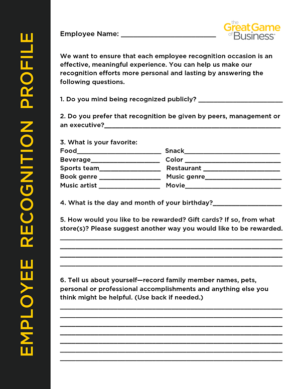 Employee Reconition Profile