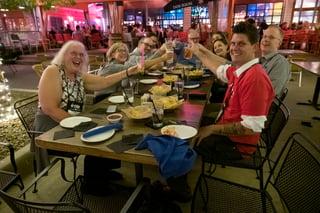Employees enjoying dinner.